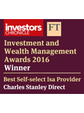 Investment and Wealth Management Awards 2016 Winner Best Self Select ISA Provider